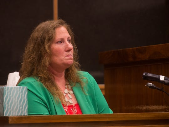 Julia Robinson speaks on the stand during the sentencing hearing of Lee Harold Cromwell.
