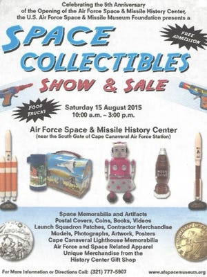 Flyer for Saturday's space collectibles show at the Air Force Space and Missile History Center.