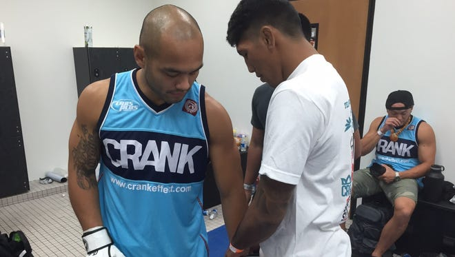 """Frank """"The Crank"""" Camacho prepares for his fight against Kengo Una during PXC 49 at the University of Guam Calvo Field House, Aug. 7, in this file photo."""