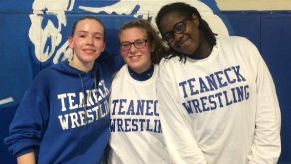 Teaneck wrestlers: (from left) Gabby Epstein-Toney, Erin Emery and Kadija Bangura.