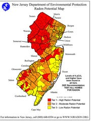 NJ DEP map shows where radon is more prevalent in the state. Red is highest, and yellow lowest.