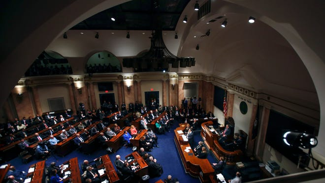 Kentucky's Governor Matt Bevin delivers a speech to a joint session of the House and the Senate. 