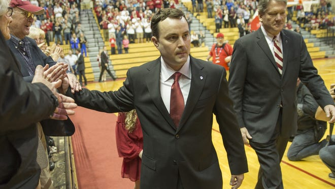 Archie Miller, new head coach of Indiana University's men's basketball team, is introduced in Assembly Hall, Bloomington, Monday, March 27, 2017.