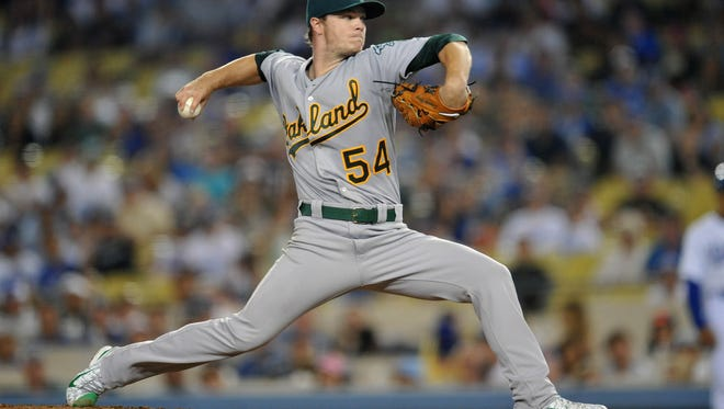 Oakland Athletics starting pitcher Sonny Gray pitches the ninth inning against the Los Angeles Dodgers at Dodger Stadium.