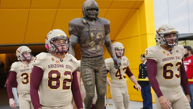 Arizona State Sun Devils honors U.S. military, Pat Tillman with special uniform during the game against the Colorado Buffaloes at Sun Devil Stadium in Tempe on November 4, 2017.