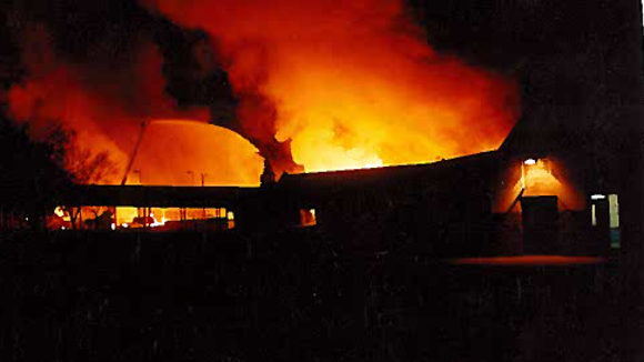 The original three-story Hillcrest Middle School building burned down on Feb. 18, 1993.