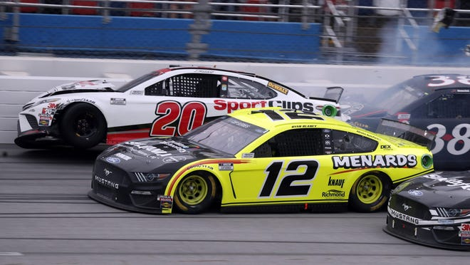 The June race ended in typical Talladega fashion, with cars spinning across the finish line.