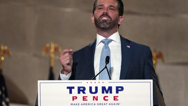 Donald Trump Jr., speaks as he tapes his speech for the first day of the Republican National Convention from the Andrew W. Mellon Auditorium in Washington, Monday, Aug. 24, 2020.