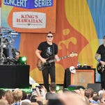 """Travis Barker (from left), Mark Hoppus, and Matt Skiba of Blink 182 perform on ABC's """"Good Morning America"""" Friday. The band, which is headlining Summerfest's Marcus Amphitheater July 5, released its new album """"California"""" Friday."""