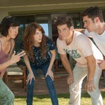 "Aubrey Plaza (from left), Anna Kendrick, Adam Devine and Zac Efron try to get on the same page in a scene from ""Mike and Dave Need Wedding Dates,"" directed by Milwaukee native Jake Szymanski."