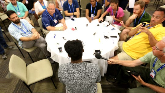 Serena Williams speaks to the media Tuesday during