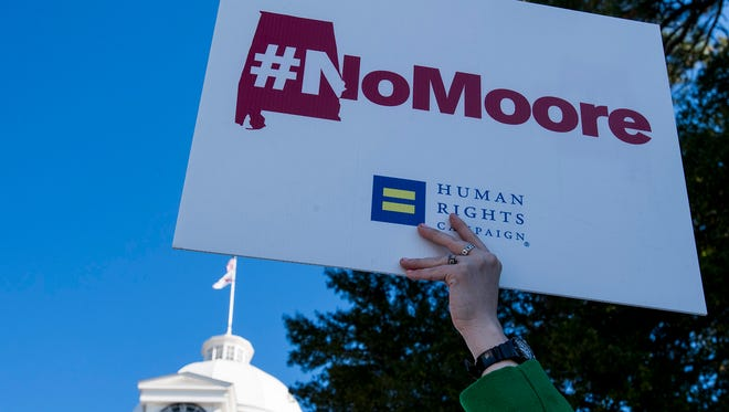 During the Never Moore Anti Roy Moore Rally at the state capitol building in Montgomery, Ala. on Tuesday November 28, 2017.