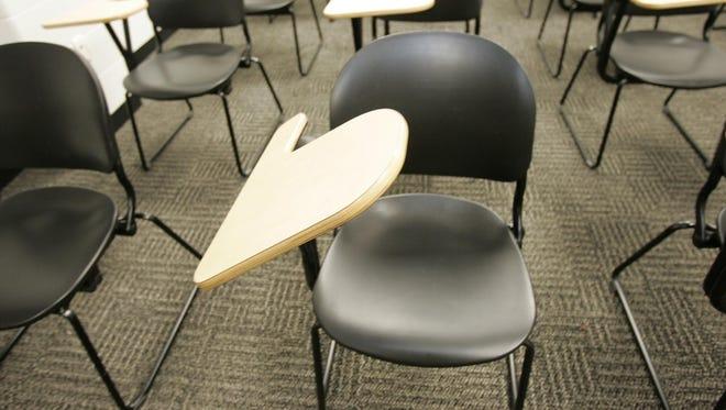 Classroom desks.