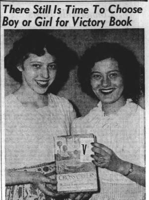 Sept. 22, 1943 Palladium-Item photo of Joan Robbins and Marilyn Mikesell, high school volunteers who helped enlisted men and women in war service to receive book donations from Morrisson-Reeves Library.