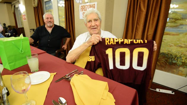 Louis Rappaport, who played varsity football at Arizona State in 1938 and '39, turned 100 last week.