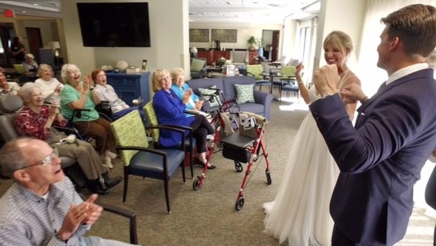 Tapestry, Tallahassee's newest assisted living and memory care community, hosted a unique wedding ceremony for its residents, family and friends with the marriage of Tapestry's director of marketing and sales, Mackenzie Hellstrom, to her husband, Taylor Biehl. Residents participated as flower girls, bridesmaids, groomsmen and partook in festivities surrounding the ceremony and reception.