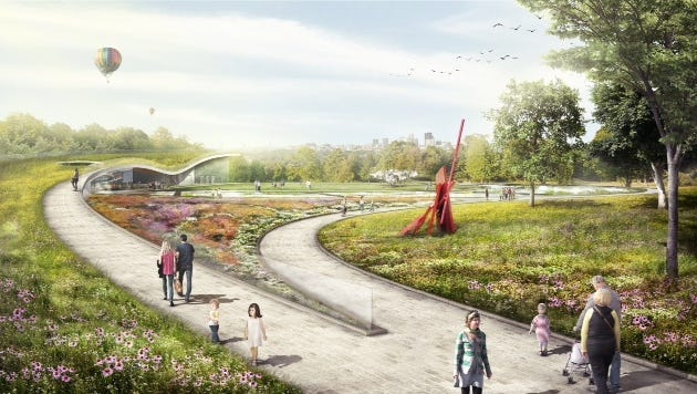 An artist's conception of the planned Waterfront Botanical Gardens.