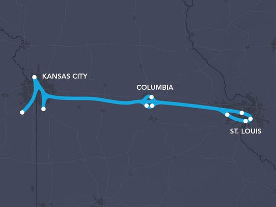 A map shows the proposed route for a Virgin Hyperloop One system running between major Missouri cities as well as in area suburbs.