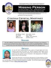 Keizer Police announced rewards for tips leading to Cynthia Martinez, the missing Woodburn woman who was last seen leaving the Tequila Nights Bar & Grill in Keizer on July 16, 2017.