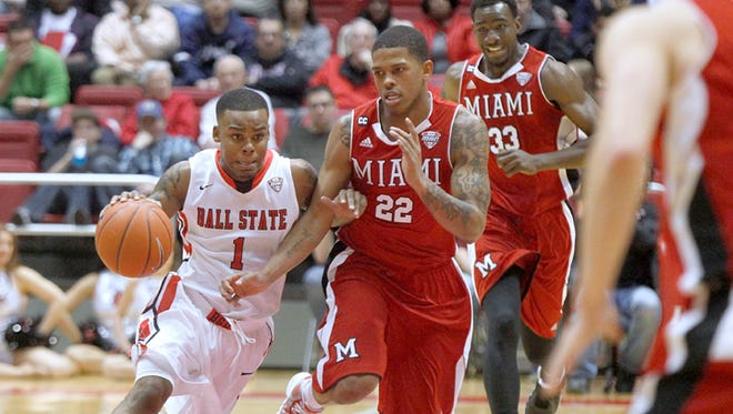 Ball State's Zavier Turner drives to the basket against Miami (Ohio), Jan. 18, 2014.