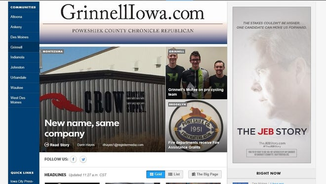The new Poweshiek County CR web paqe at GrinnellIowa.com