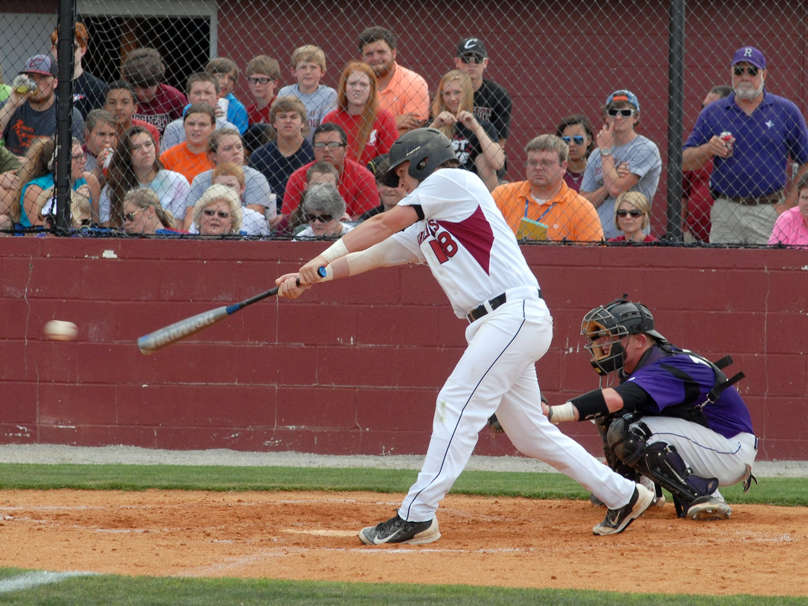Crockett County's Sam Simmons gets a hit against Ripley in a Class AA sectional.