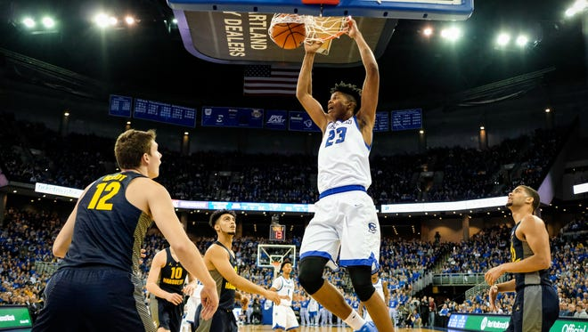 Creighton's Justin Patton is a high-flying 7-footer who could be of interest to the Bucks in the NBA draft June 22.