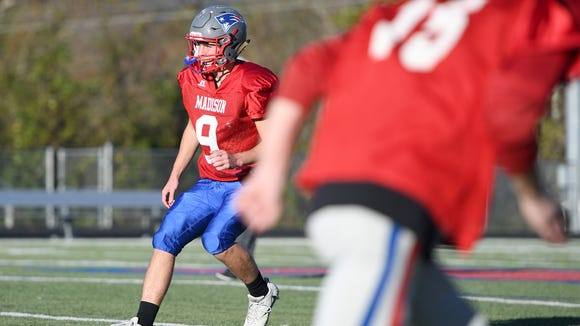 Madison junior Clark Gray runs a drill during practice on Monday, Oct. 30, 2017. He is back on the field after being hospitalized with a concussion from a hit he took in a game against Mitchell on Oct. 13.