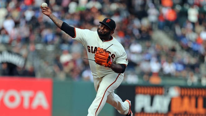 Giants third baseman Pablo Sandoval came in to pitch the ninth inning against the Dodgers at AT&T Park in San Francisco.