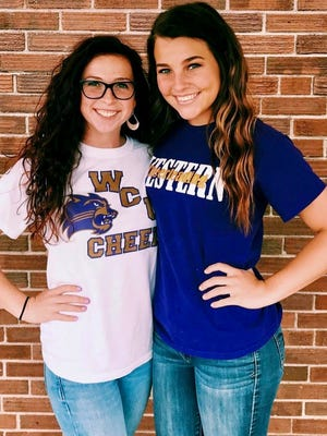 Tuscola senior captains Gracie Jenkins. left, and Carlee Sutton will be continuing their cheerleading careers at Western Carolina University.