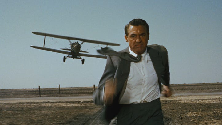 """""""North by Northwest"""" (1959). Cary Grant catches a plane"""