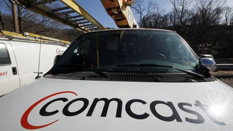 A Comcast logo on a Comcast installation truck in Pittsburgh.