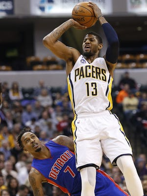 Indiana Pacers forward Paul George (13) shoots over Detroit Pistons guard Brandon Jennings (7) at Bankers Life Fieldhouse on Jan. 2, 2016.