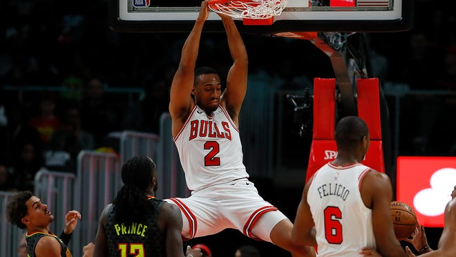 ATLANTA, GA - OCTOBER 27:  Jabari Parker #2 of the Chicago Bulls dunks against the Atlanta Hawks at State Farm Arena on October 27, 2018 in Atlanta, Georgia.  NOTE TO USER: User expressly acknowledges and agrees that, by downloading and or using this photograph, User is consenting to the terms and conditions of the Getty Images License Agreement.  (Photo by Kevin C. Cox/Getty Images)
