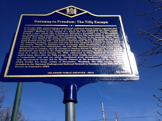 A state historic marker in Seaford details the risky escape of a former slave named Tilly with the assistance of Harriet Tubman.