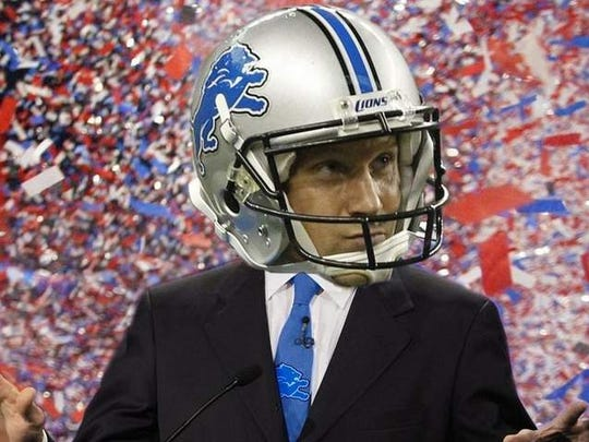 Free Press photo illustration of Jason Hanson after the ex-Lions kicker won our 2012 presidential election for Detroit sports.