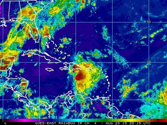 Satellite immegart of TS Erika. Aug 28, 5 p.m.