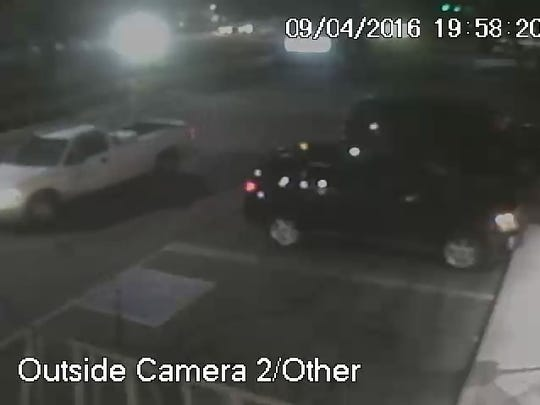 The robber's vehicle, pictured on the left, is described as a white Ford F150 with a tool box in the back.