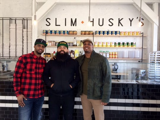 Emanuel Reed, Clint Gray and Derrick Moore of Slim & Husky's  on Buchanan Street. The thriving business is among newcomers to that street that was once a commercial hub in predominantly black North Nashville.