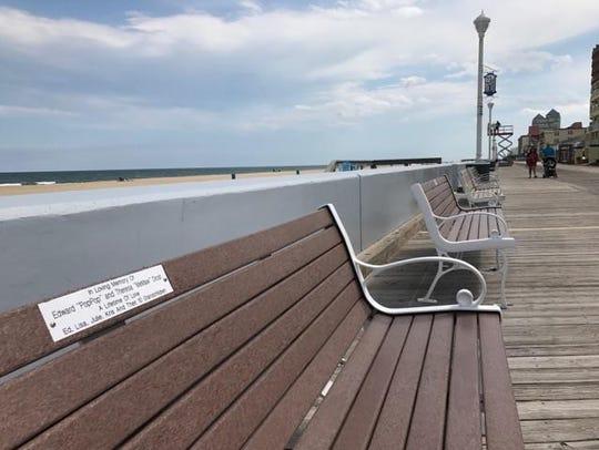 An Ocean City Boardwalk dedicated bench seen May 10,
