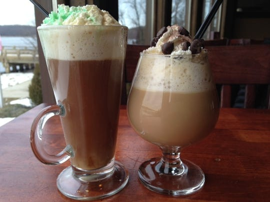 Warm up with a hot drink: These are from Salt Creek Grille in Rumson. The Irish coffee (left) is made with Jameson Irish Whiskey, sugar, coffee, fresh whipped cream and creme de menthe. The Chip Shot is made with Tuaca Liqeuer, Bailey's Irish Cream, coffee, whipped cream and chocolate chips.