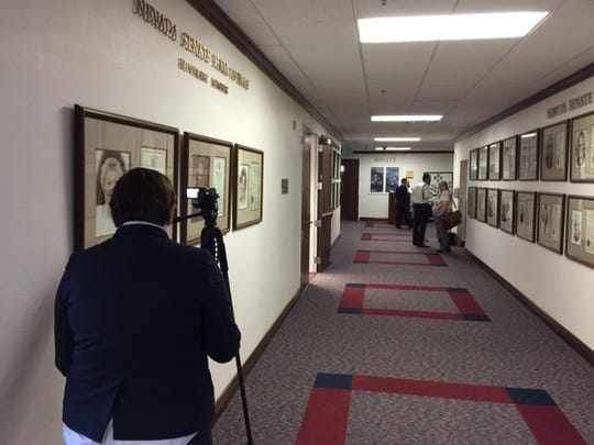 The state Democratic Party stationed a tracker with a camera outside the senate Republican leadership offices in the Legislative Building.