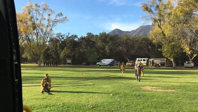 The Ventura County Air Unit lands at Soule Park in Ojai Monday afternoon to transport a male patient from a crash between a motorcycle and vehicle.