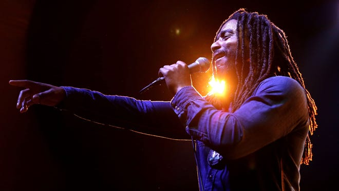 """Dwayne """"Danglin"""" Anglin of The Wailers performs at the Byron Bay Bluesfest in Australia last year."""