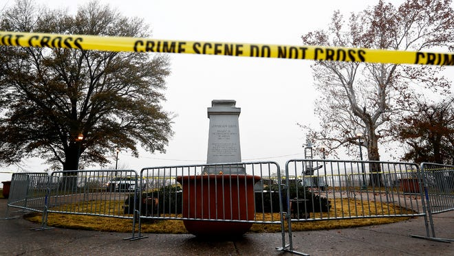 The pedestal that once held a statue of Confederate President Jefferson Davis in Fourth Bluff Park is now empty. The statue was removed in December along with a statue of Confederate Gen. Nathan Bedford Forrest from nearby Health Sciences Park.