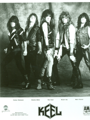 The band Keel, shown in a 1985 publicity shot, with Marc Ferrari on the right.