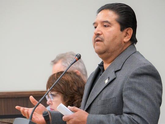 Gilbert Gomez, a retired Robstown Police Officer, speaks