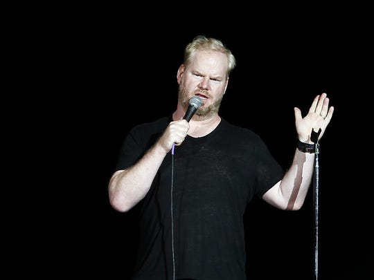 Jim Gaffigan performs in the Coliseum at the Indiana State Fair on Aug. 17, 2014.