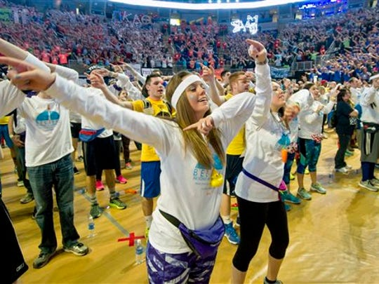 THON is the biggest student philanthropy in the nation, built on a 46-hour dance marathon at Penn State. Four Diamonds children are taken into the Bryce Jordan Center to inspire the dancers, who raise money for THON throughout the school year.