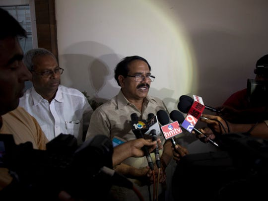 Jaganmohan Reddy, father of Alok Madasani, an engineer who was injured in the shooting Wednesday nighti n a crowded suburban Kansas City bar, speaks to the media at his residence in Hyderabad, India, Friday, Feb. 24, 2017. The shooting of two Indians in the crowded suburban Kansas City bar has sent shock waves through their hometowns, and India's government is rushing diplomats to monitor progress in investigation into the crime. The suspect, Adam Purinton, has been taken into custody and charged on Thursday with murder and attempted murder.